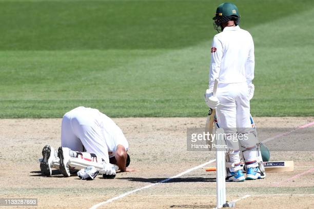 Mohammad Mahmudullah of Bangladesh celebrates after scoring a century during day four of the First Test match in the series between New Zealand and...