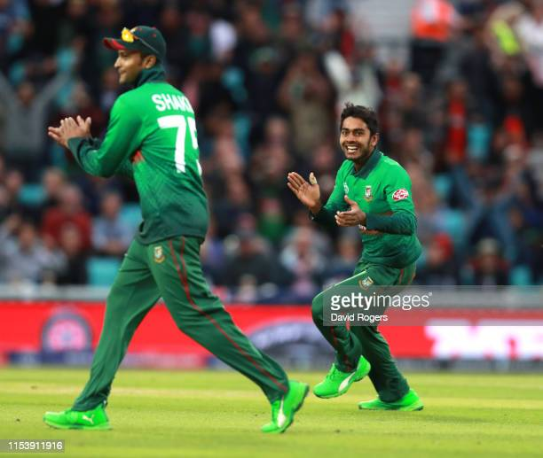 Mohammad Mehidy Hasan of Bangladesh celebrates after taking the wicket of Tom Latham during the Group Stage match of the ICC Cricket World Cup 2019...