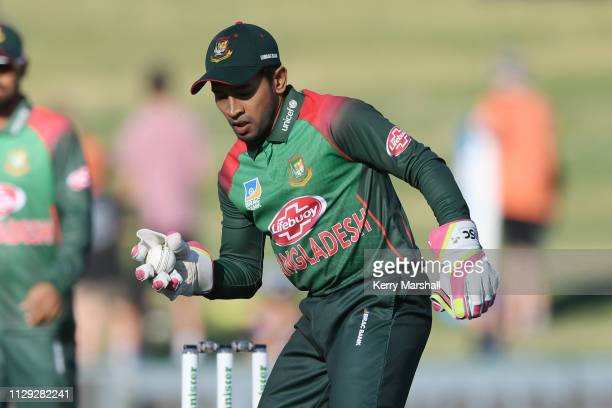 Mohammad Mushfiqur Rahim of Bangladesh during Game 1 of the One Day International series between New Zealand v Bangladesh at McLean Park on February...
