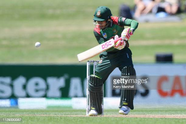 Mohammad Mushfiqur Rahim of Bangladesh plays a shot during Game 1 of the One Day International series between New Zealand v Bangladesh at McLean Park...