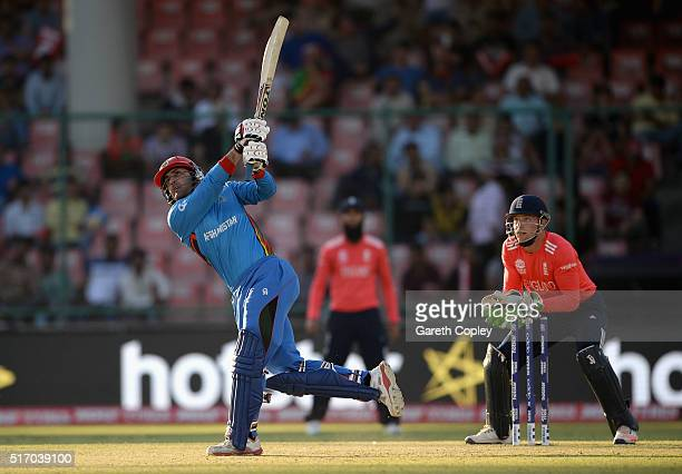 Mohammad Nabi of Afghanistan bats during the ICC World Twenty20 India 2016 Group 1 match between England and Afghanistan at Feroz Shah Kotla Ground...