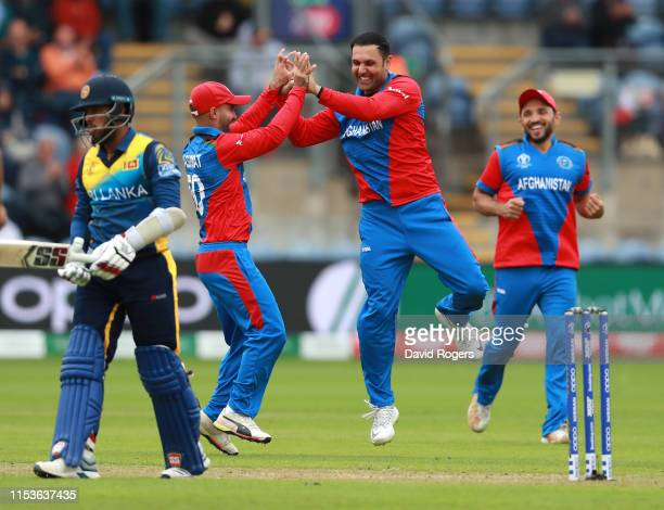 Mohammad Nabi of Afghanistan celebrates after taking the wicket of Kusal Mendis during the Group Stage match of the ICC Cricket World Cup 2019...