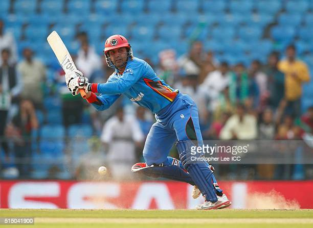 Mohammad Nabi of Afghanistan in action during the ICC Twenty20 World Cup Round 1 Group B match between Zimbabwe and Afghanistan at the Vidarbha...