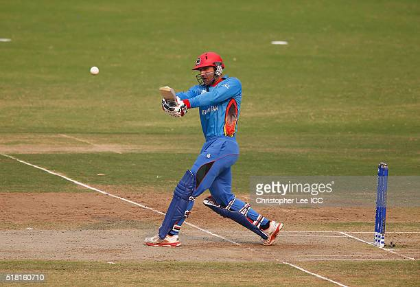 Mohammad Nabi of Afghanistan in action during the ICC World Twenty20 India 2016 Group 1 match between Afghanistan and West Indies at the Vidarbha...