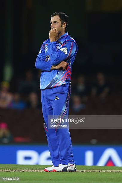 Mohammad Nabi of Afghanistan looks dejected during the 2015 Cricket World Cup match between England and Afghanistan at Sydney Cricket Ground on March...