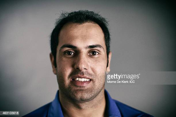 Mohammad Nabi of Afghanistan poses during the Afghanistan 2015 ICC Cricket World Cup Headshots Session at the Intercontinental on February 7 2015 in...