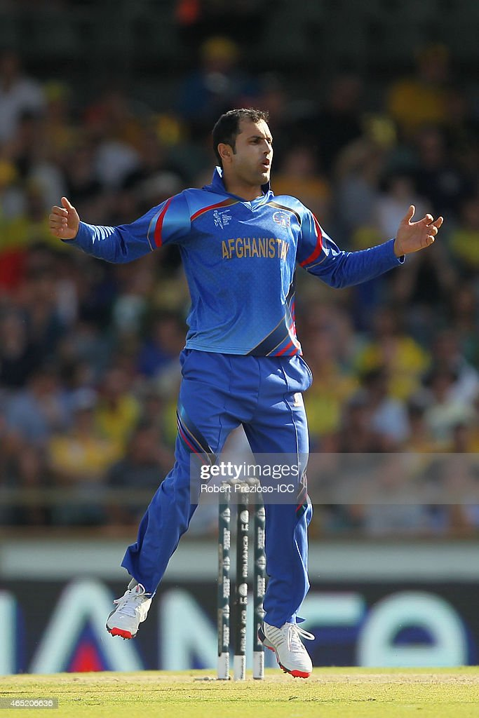 Mohammad Nabi of Afghanistan reacts during the 2015 ICC Cricket World match between Australia and Afghanistan at WACA on March 4, 2015 in Perth, Australia.
