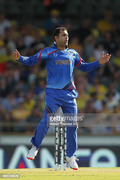Mohammad Nabi of Afghanistan reacts during the 2015 ICC Cricket World match between Australia and Afghanistan at WACA on March 4 2015 in Perth...