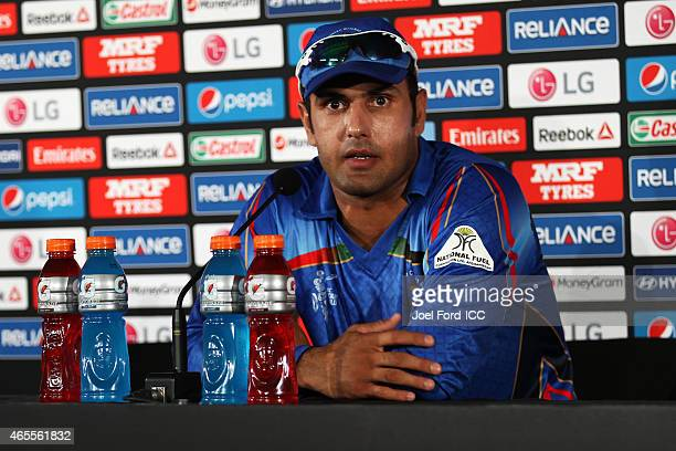 Mohammad Nabi of Afghanistan speaks at a postmatch press conference during the 2015 ICC Cricket World Cup match between New Zealand and Afghanistan...