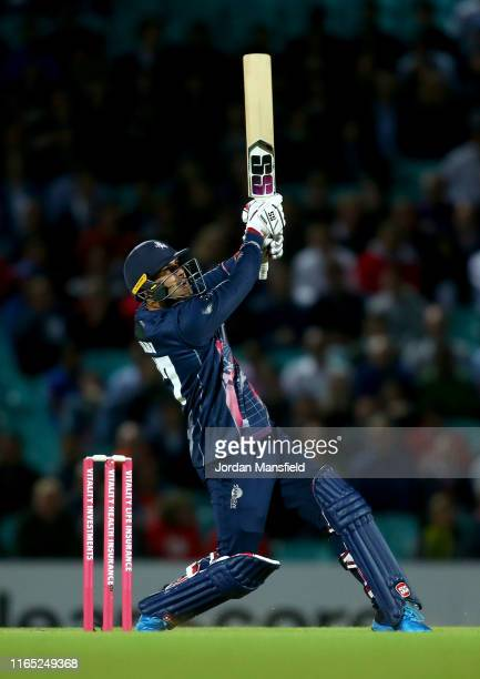 Mohammad Nabi of Kent hits out during the Vitality Blast match between Surrey and Kent Spitfires at The Kia Oval on July 30 2019 in London England