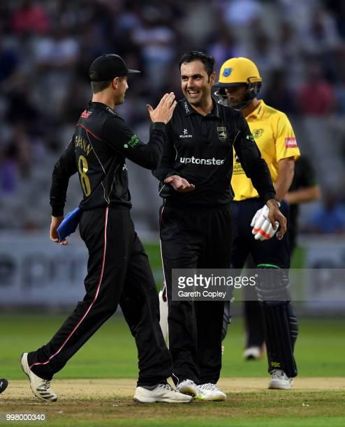 Mohammad Nabi of Leicestershire celebrates dismissing Colin de Grandhomme of Birmingham Bears during the Vitality Blast match between Birmingham...