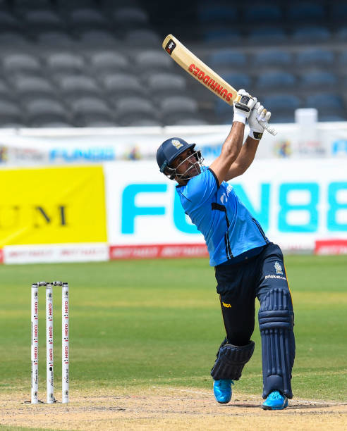 Mohammad Nabi of St Lucia Zouks hits 6 during the Hero Caribbean Premier League match 27 between Trinbago Knight Riders and St Lucia Zouks at Brian...