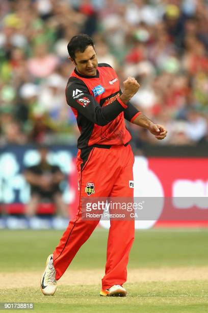 Mohammad Nabi of the Melbourne Renegades celebrates the wicket of Kevin Pietersen of the Melbourne Stars during the Big Bash League match between the...