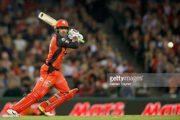 Mohammad Nabi of the Renegades bats during the Big Bash League match between the Melbourne Renegades and the Perth Scorchers at Etihad Stadium on...