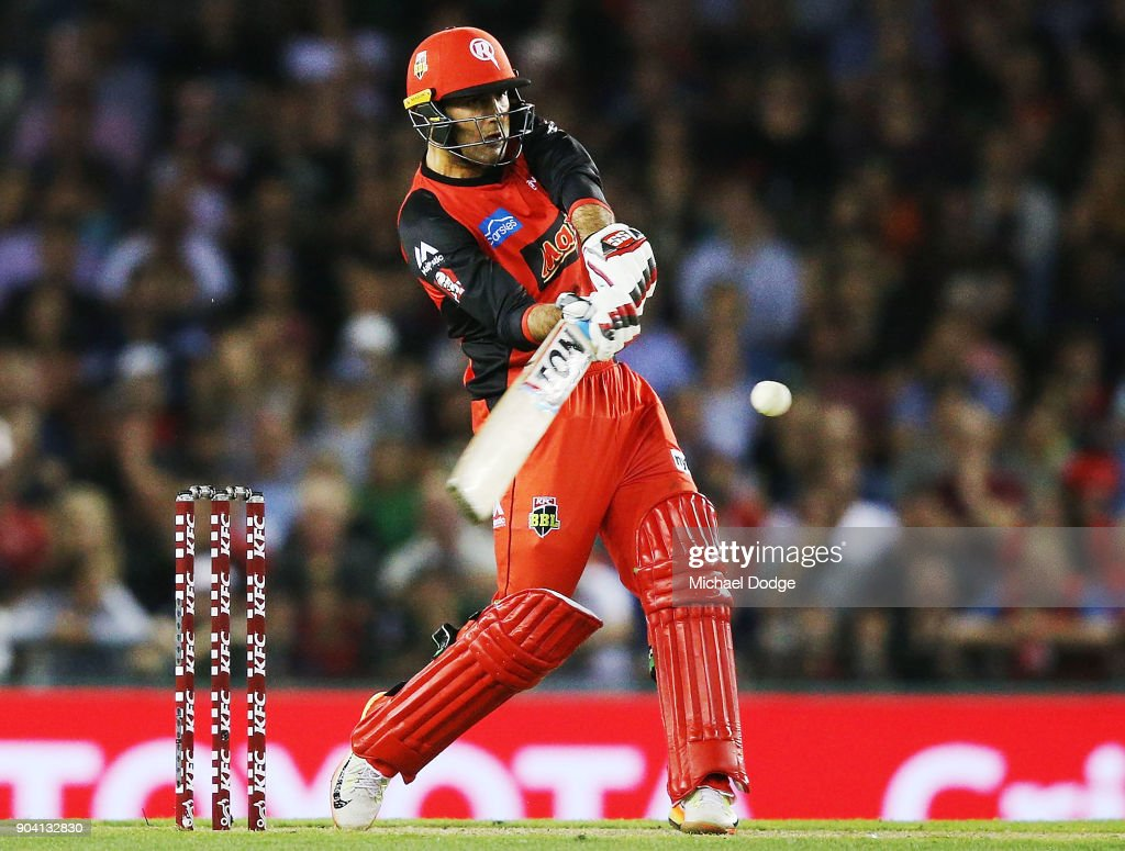 Mohammad Nabi of the Renegades bats during the Big Bash League match between the Melbourne Renegades and the Melbourne Stars at Etihad Stadium on January 12, 2018 in Melbourne, Australia.