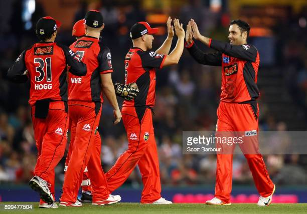 Mohammad Nabi of the Renegades celebrates after dismissing Michael Klinger of the Scorchers during the Big Bash League match between the Melbourne...