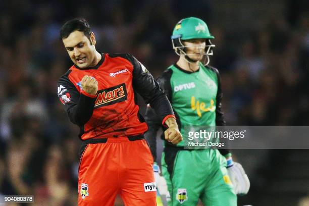 Mohammad Nabi of the Renegades celebrates the wicket of Ben Dunk of the Stars during the Big Bash League match between the Melbourne Renegades and...