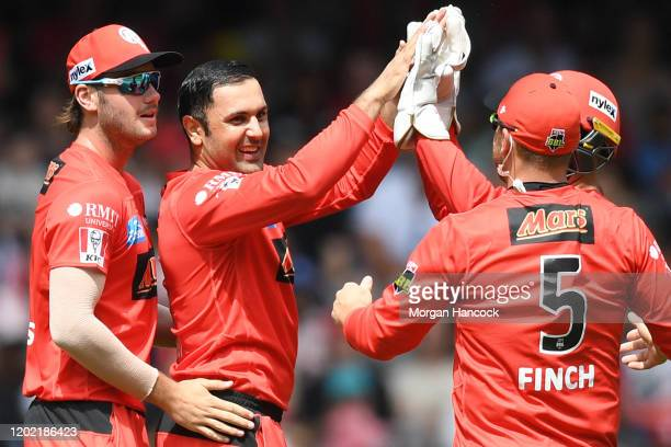 Mohammad Nabi of the Renegades celebrates the wicket of Chris Lynn of the Heat during the Big Bash League match between the Melbourne Renegades and...