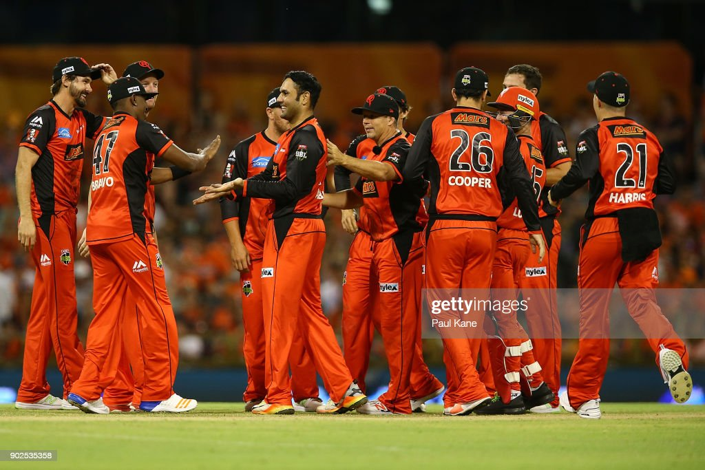 Mohammad Nabi of the Renegades celebrates the wicket of Michael Klinger of the Scorchers during the Big Bash League match between the Perth Scorchers and the Melbourne Renegades at WACA on January 8, 2018 in Perth, Australia.