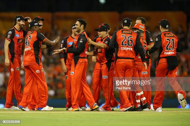 Mohammad Nabi of the Renegades celebrates the wicket of Michael Klinger of the Scorchers during the Big Bash League match between the Perth Scorchers...