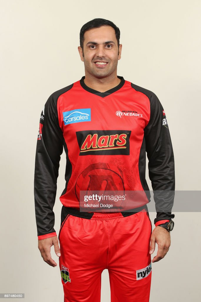 Mohammad Nabi poses during the Melbourne Renegades BBL headshots session on December 9, 2017 in Melbourne, Australia.