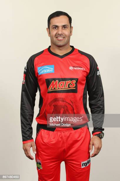 Mohammad Nabi poses during the Melbourne Renegades BBL headshots session on December 9 2017 in Melbourne Australia