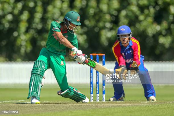 Mohammad Naim of Bangladesh bats during the ICC U19 Cricket World Cup match between Bangladesh and Namibia at Bert Sutcliffe Oval on January 13 2018...