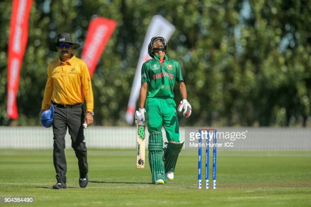 Mohammad Naim of Bangladesh celebrates his half century during the ICC U19 Cricket World Cup match between Bangladesh and Namibia at Bert Sutcliffe...