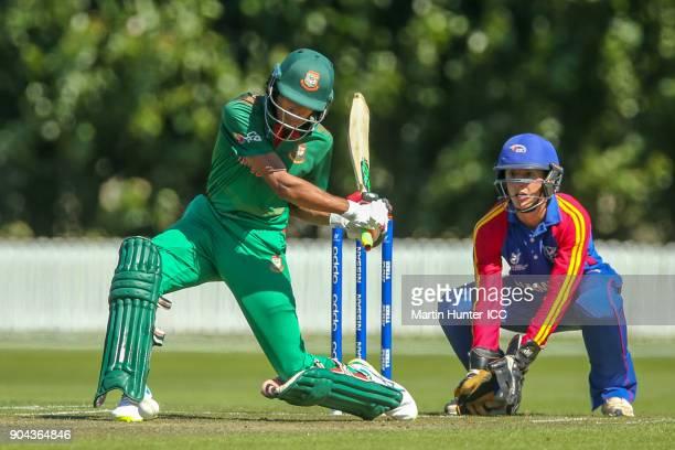 Mohammad Naim of Bangladesh of Bangladesh bats during the ICC U19 Cricket World Cup match between Bangladesh and Namibia at Bert Sutcliffe Oval on...