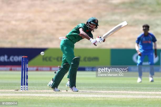 Mohammad Naim Sheikh of Bangladesh bats during the ICC U19 Cricket World Cup match between India and Bangladesh at John Davies Oval on January 26...