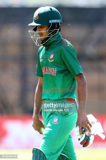 Mohammad Naim Sheikh of Bangladesh comes from the field after being dismissed during the ICC U19 Cricket World Cup match between India and Bangladesh...