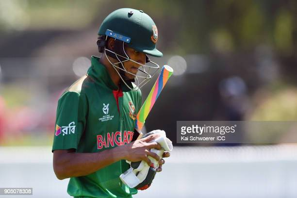 Mohammad Naim Sheikh of Bangladesh looks dejected after being dismissed by Rommel Shazad of Canada during the ICC U19 Cricket World Cup match between...