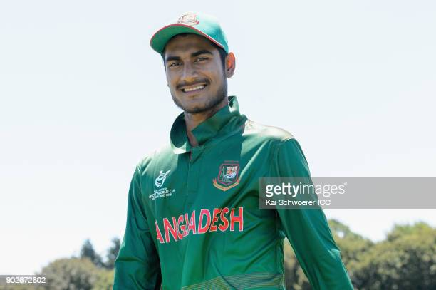 Mohammad Naim Sheikh of Bangladesh looks on as he walks from the ground at the lunch break during the ICC U19 Cricket World Cup Warm Up Match between...