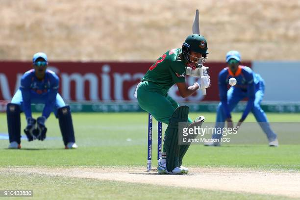 Mohammad Naim Sheikh of Bangladesh looks to avoid a bouncer during the ICC U19 Cricket World Cup match between India and Bangladesh at John Davies...