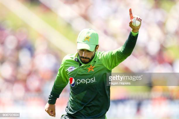 Mohammad Nawaz of Pakistan celebrates after taking the wicket of Colin Munro of New Zealand during game five of the One Day International Series...