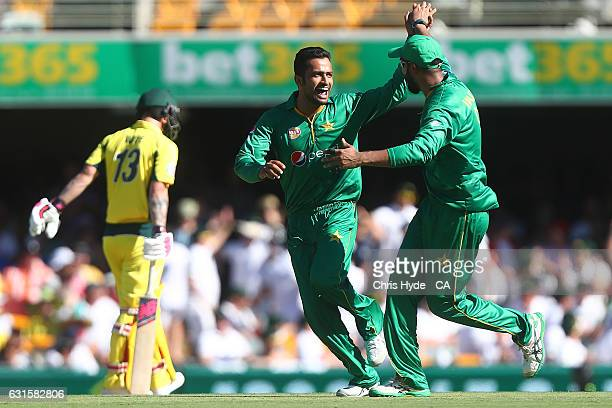 Mohammad Nawaz of Pakistan celebrates dismissing James Faulkner of Australia during game one of the One Day International series between Australia...