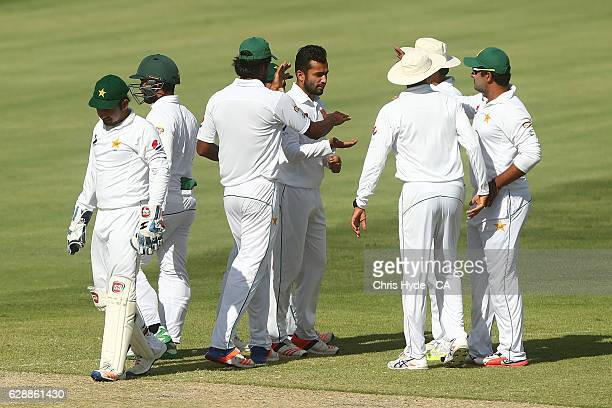 Mohammad Nawaz of Pakistan celebrates dismissing Matthew Short of Cricket Australia XI during the tour match between Cricket Australia XI and...