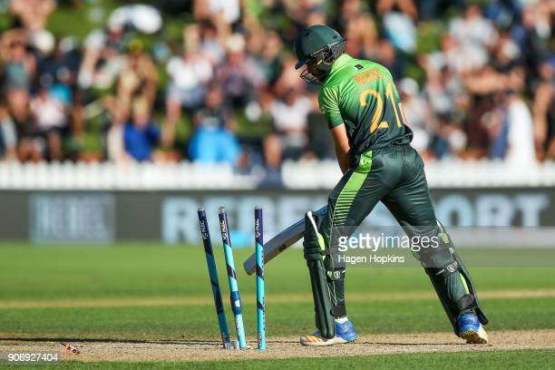 Mohammad Nawaz of Pakistan looks on after being bowled out during game five of the One Day International Series between New Zealand and Pakistan at...