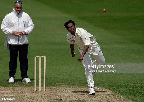 Mohammad Rafique of Bangladesh bowling during the tour match between Northamptonshire and Bangladesh at Northampton 20th May 2005 The umpire is Peter...