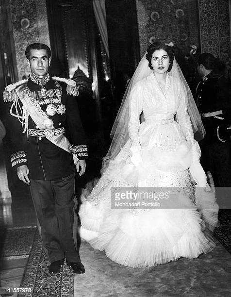 Mohammad Reza Pahlavi Shah of Persia in full dress with his second wife Soraya Esfandiari on the day of their wedding Teheran 12th February 1951