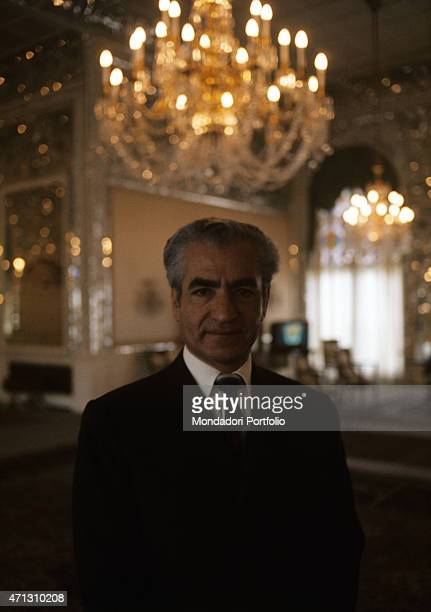 Mohammad Reza Pahlavi the last Shah of Persia in the centre of his summer palace reception room Iran 1971