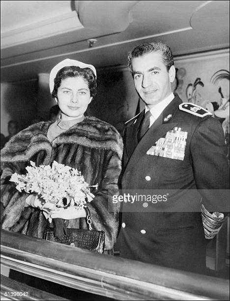 Mohammad Reza Pahlavi the Shah of Iran and his wife Empress Soraya pose for the media in March 1953 in Tehran