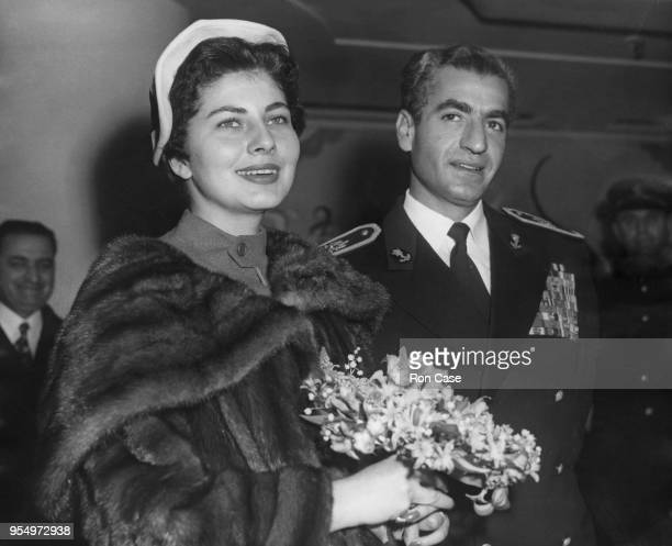 Mohammad Reza Pahlavi the Shah of Iran with his wife Queen Soraya during a visit to London 17th February 1955
