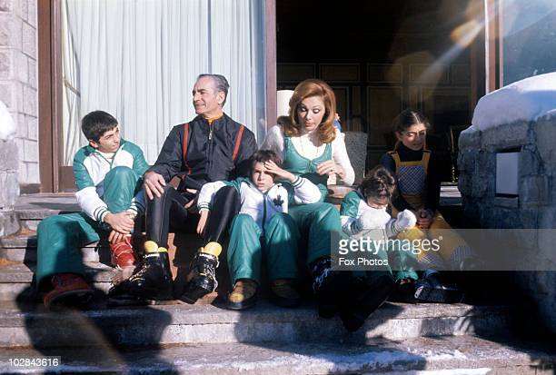 Mohammad Reza Shah Pahlavi Shah of Iran and Empress Farah Pahlavi of Iran and their family on holiday in St Moritz Switzerland 1974