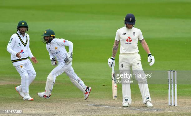 Mohammad Rizwan celebrates taking the catch of Ben Stokes of England which is given out on review during Day Four of the 1st #RaiseTheBat Test Match...