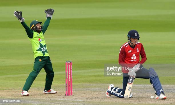 Mohammad Rizwan of Pakistan appeals successfully for the wicket of Tom Banton during the 2nd Vitality International Twenty20 match between England...