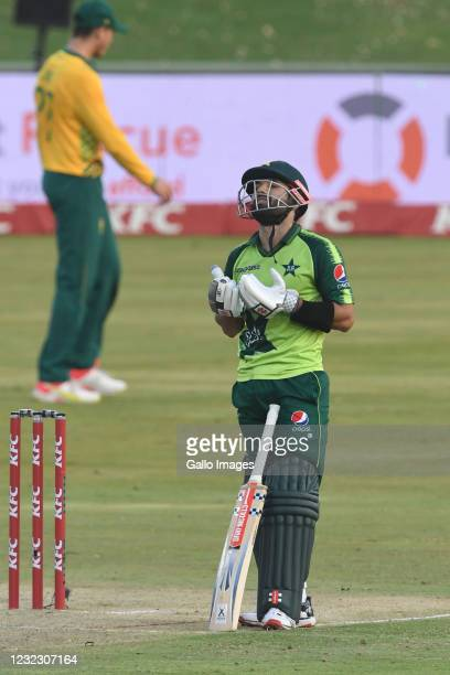 Mohammad Rizwan of Pakistan celebrates his 50 during the 3rd KFC T20 International match between South Africa and Pakistan at SuperSport Park on...