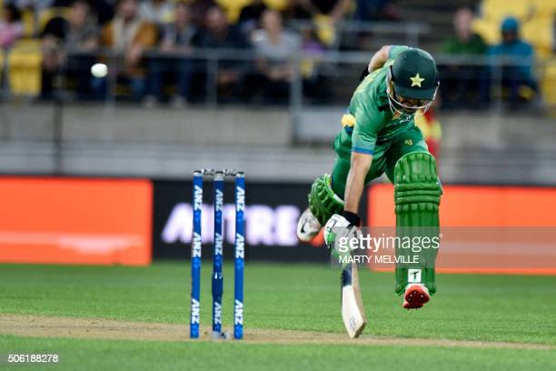 Mohammad Rizwan of Pakistan makes a run during the third T20 cricket match between New Zealand and Pakistan at Westpac Stadium in Wellington on...