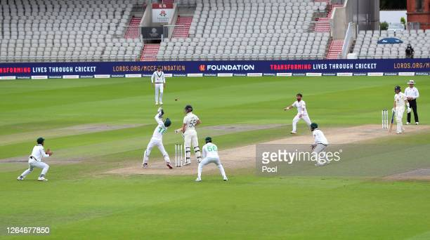 Mohammad Rizwan of Pakistan takes the catch on the second attempt to dismiss Ben Stokes of Englan during Day Four of the 1st #RaiseTheBat Test Match...