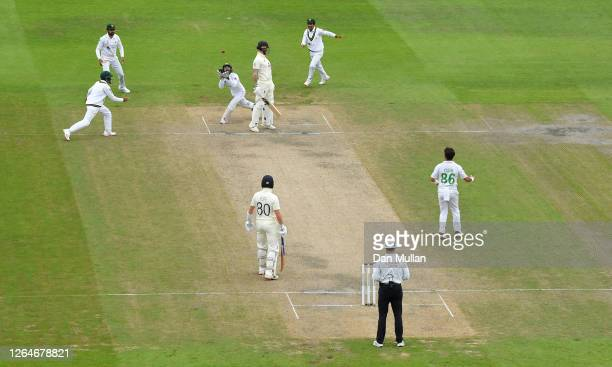 Mohammad Rizwan of Pakistan takes the catch on the second attempt to dismiss Ben Stokes of England during Day Four of the 1st #RaiseTheBat Test Match...